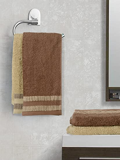 Trident Swirl Bordered 4 Piece 450 GSM Cotton Towel Set (Brown and Starfish)