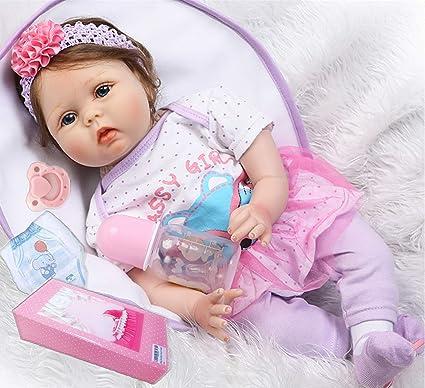 "Cutie Reborn Silicone Baby Dolls Girl 22/"" Handmade Alive Baby Doll Cloth Body"