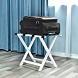 WELLAND Wood Folding Luggage Rack Luggage Stand for Suitcase for Home Bedroom Guestroom, White