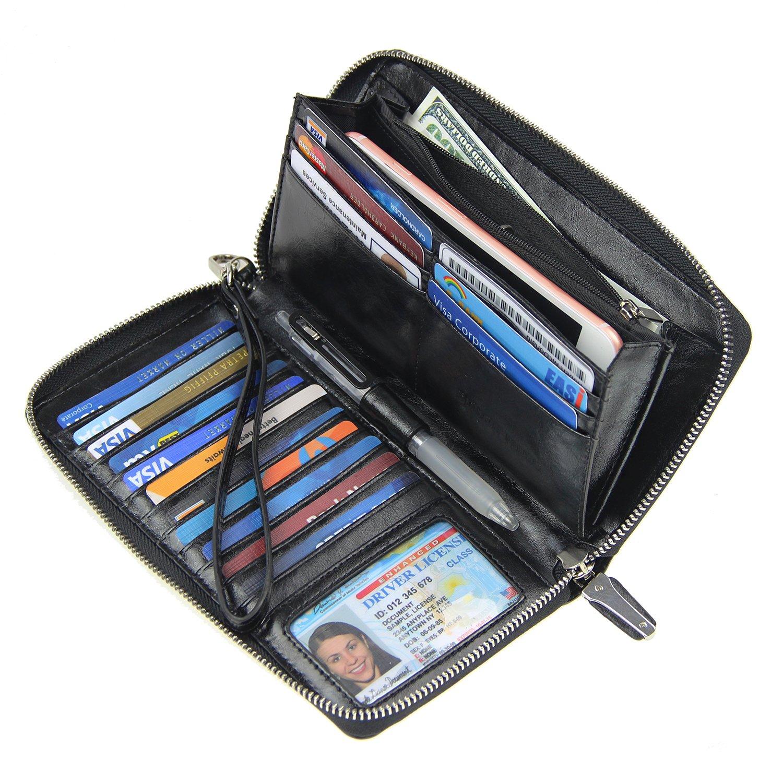 Women RFID Blocking Wallet Wax Genuine Leather Zip Around Clutch Large Travel Purse Black