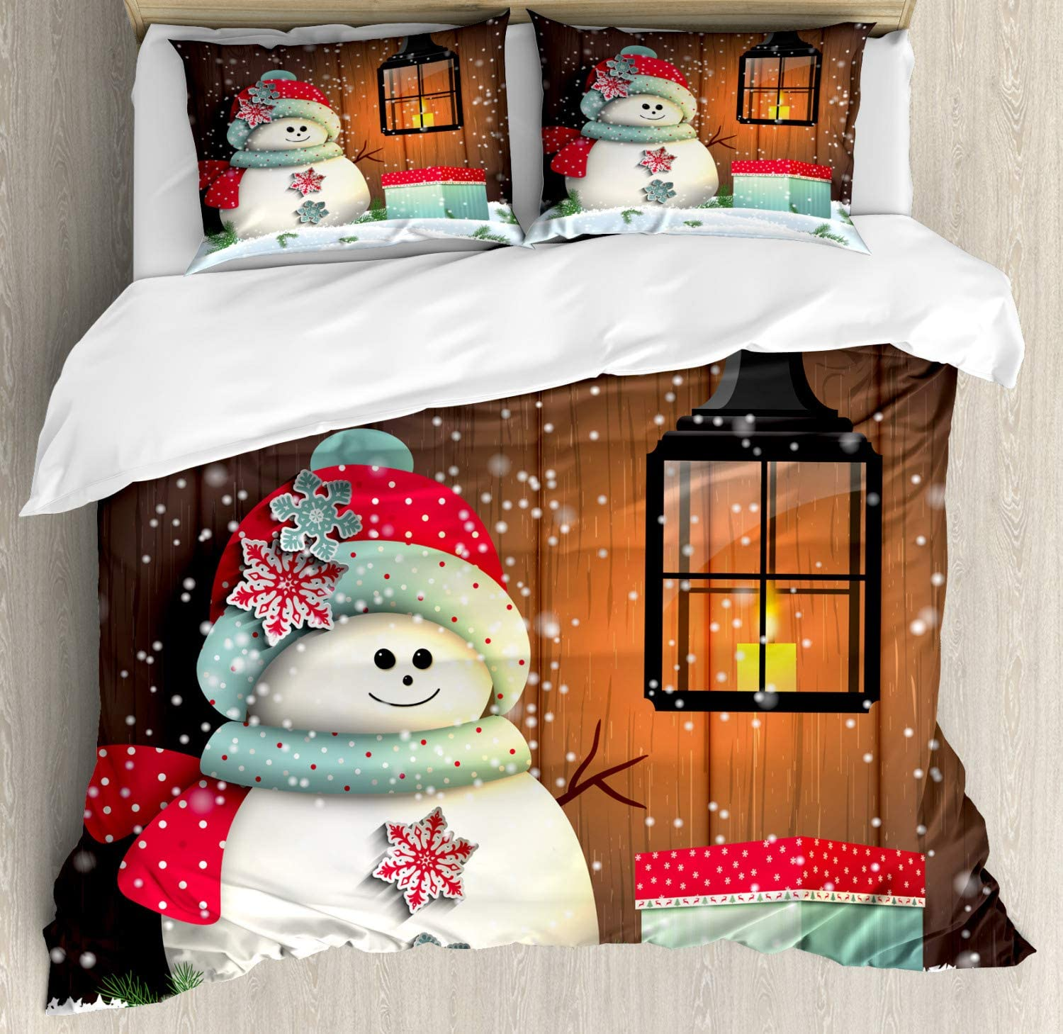 Ambesonne Christmas Duvet Cover Set, Snowman with Santa Hat in The Garden with a Gift Box and Lantern Image, Decorative 3 Piece Bedding Set with 2 Pillow Shams, California King, White Brown