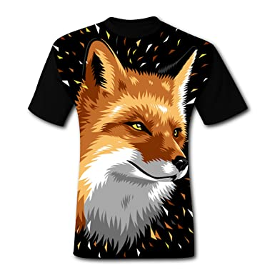 6da9fb14 Image Unavailable. Image not available for. Color: Fox Geometric Men's  T-Shirt Short Sleeve Cool Sports Tee Shirt For Men S