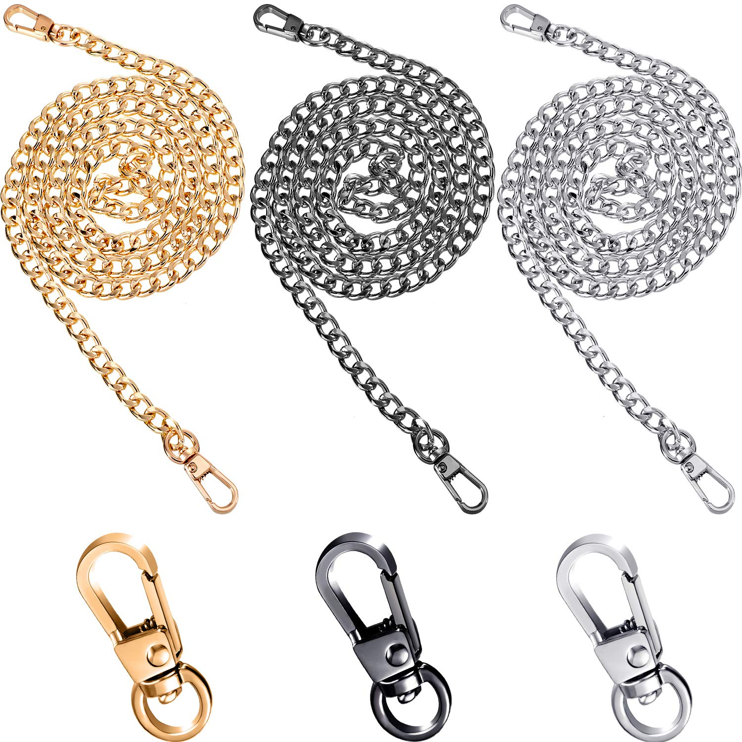 3 Colors Zonon Bag Chain Strap Handbag Replacement Chains Iron Chain Strap and Replacement Clasps for Ladys Bag DIY and Maintenance