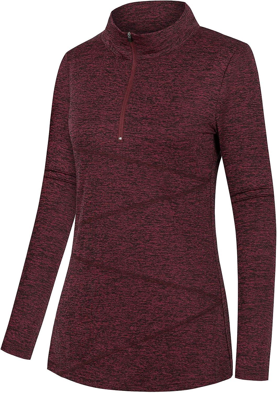 Nandashe Women's Yoga Shirts Long Sleeve Quarter Zip Top Workout Running Jackets