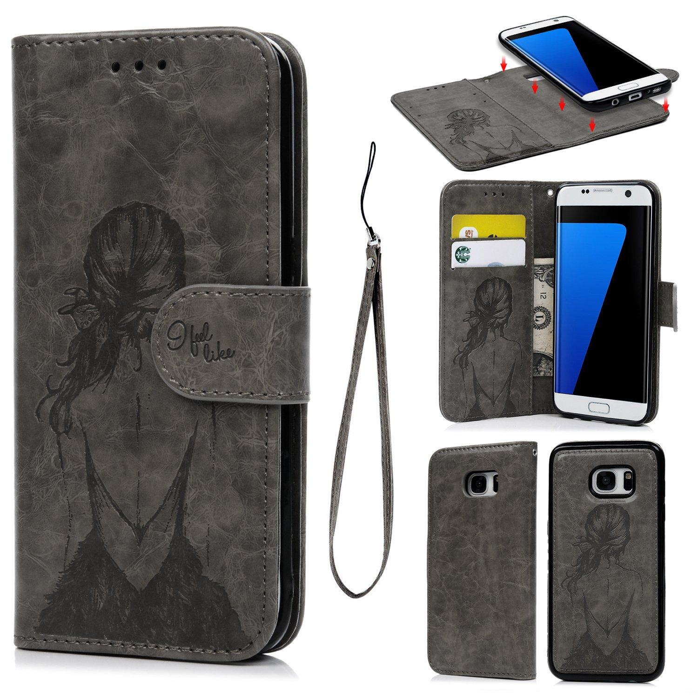 S7 Edge case, custodia magnetica staccabile, in pelle sintetica di separabili cover in TPU con custodia in bella ragazza modello con slot per schede e cinturino da polso per Samsung Galaxy S7 Edge SUPWALL K-BKJPZH00523