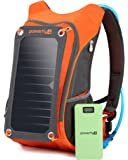 Powerfly High Visibility ECO Solar Powered Backpack with 10000mAh Power Bank, 2L Hydration Pack, 7W Solar Panel - Hiking Camping Travel Portable Sun Charger Kit for Charging Tablet Camera Smart Phone