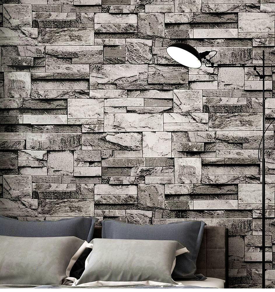 Blooming Wall Modern Faux Brick Stone Wallpaper 3d Brick Blocks Home Room Decoration,57 Sq. Ft/Roll (Gray)