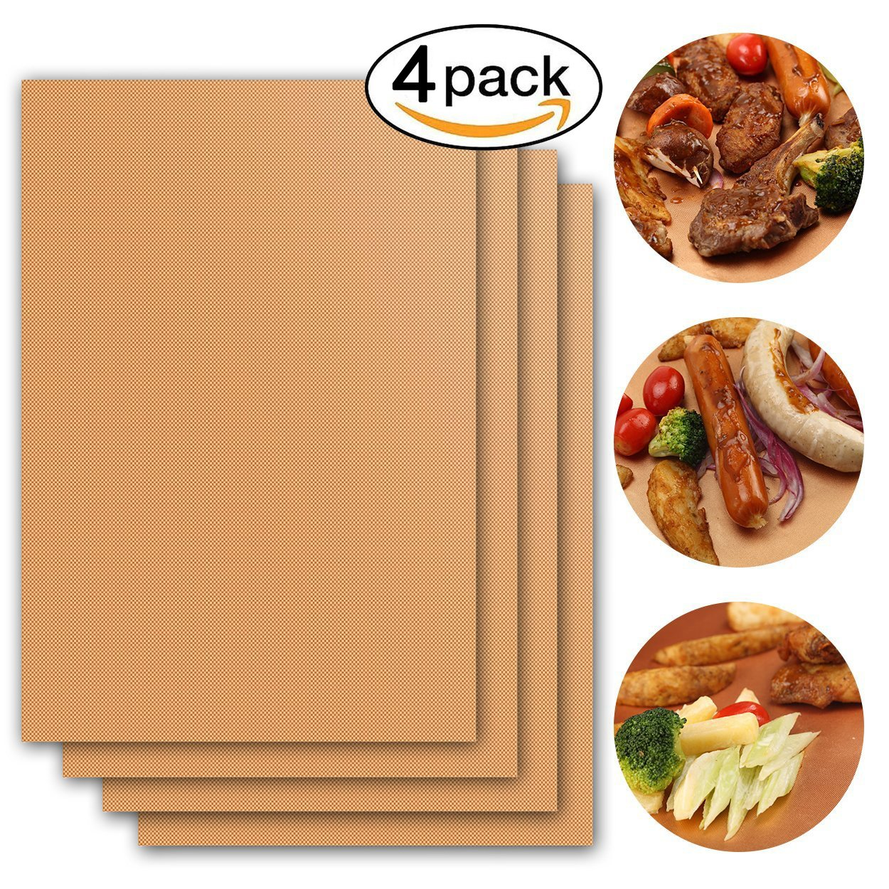 Copper BBQ Grill Mat & Baking Mats Set of 3 - Non-Stick,Reusable,Heat Resistantand, Easy to Clean - Work on Gas, Charcoal, Oven and Electric Grills - 15.75 x 13 Inch Grasafety