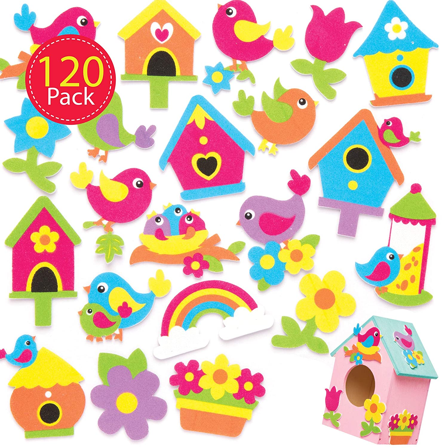 Pack of 120 Self Adhesives Perfect for Children to Decorate Collages and Crafts Ideal for Schools Baker Ross AW306 Bird Foam Stickers Home Party Crafting Craft Groups
