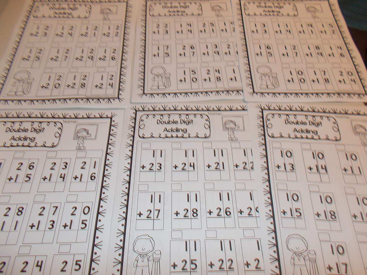 300 Printed Double Digit Add Subtract Worksheets.