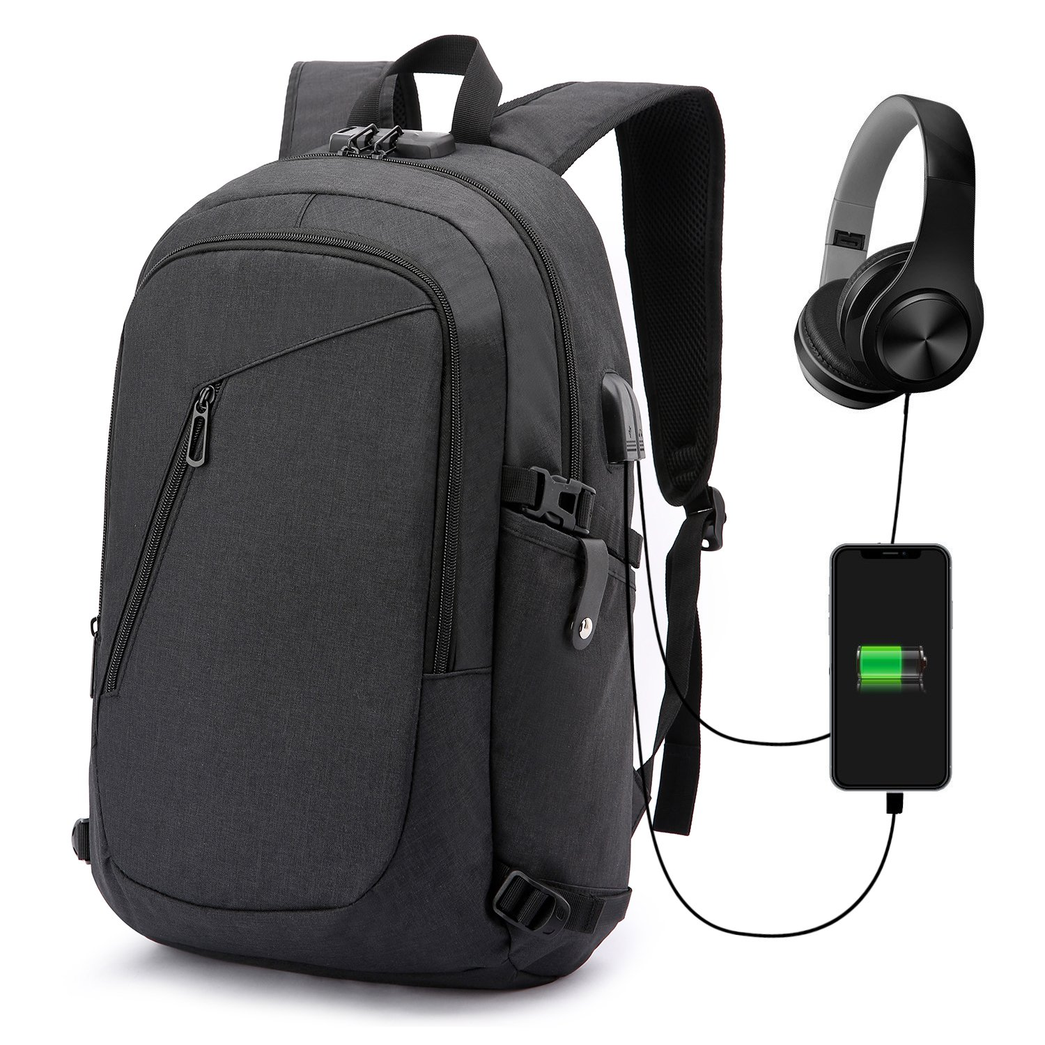 Anti-Theft Backpack,Business Laptop Backpack with USB Charging Port and Earphone Port with Lock Slim Water Resistant Bag Daypack Fits 15.6 Inch Computer Notebook Rucksack for Work, College WENIG