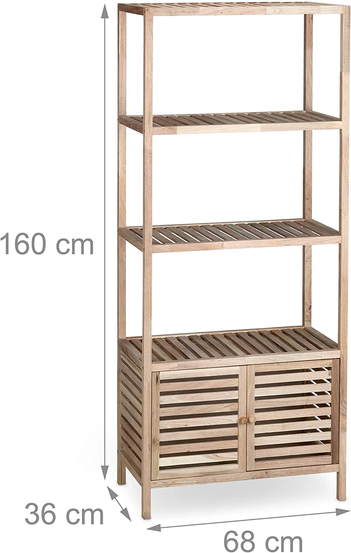 3 Compartimientos 36x68x86 cm Relaxdays Armario para Ba/ño Marr/ón Nogal