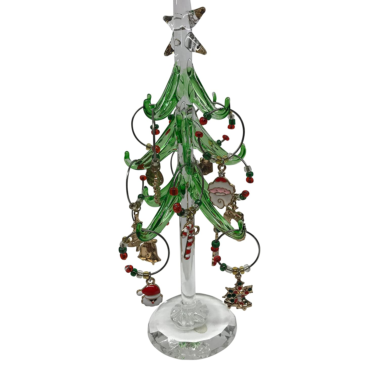 Amazon Wine Charm Christmas Tree with 12 Enamel Holiday Wine