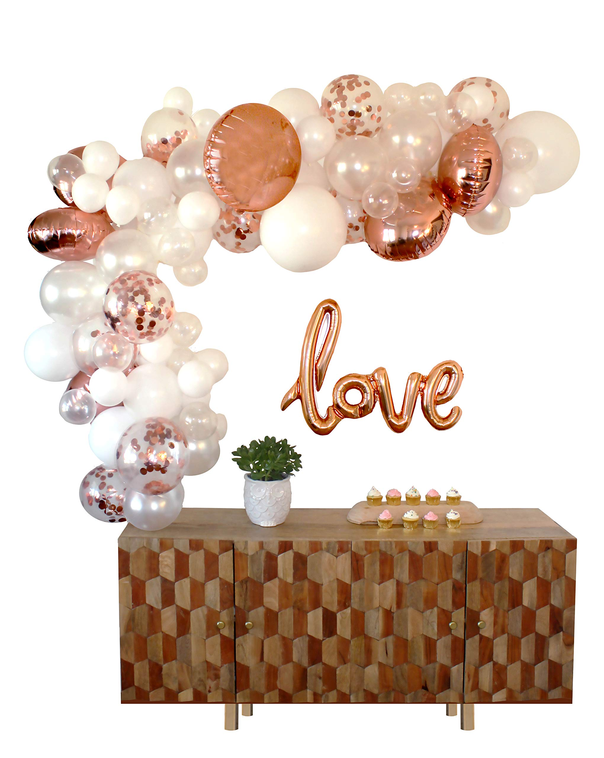 Balloon Arch & Garland Kit | 80 Rose Gold, Confetti, White & Clear Balloons | Love Balloon | Hand Pump | Glue Dots | 16' Tape | Bridal, Baby Shower, Birthday, Bachelorette, Wedding Party Decorations