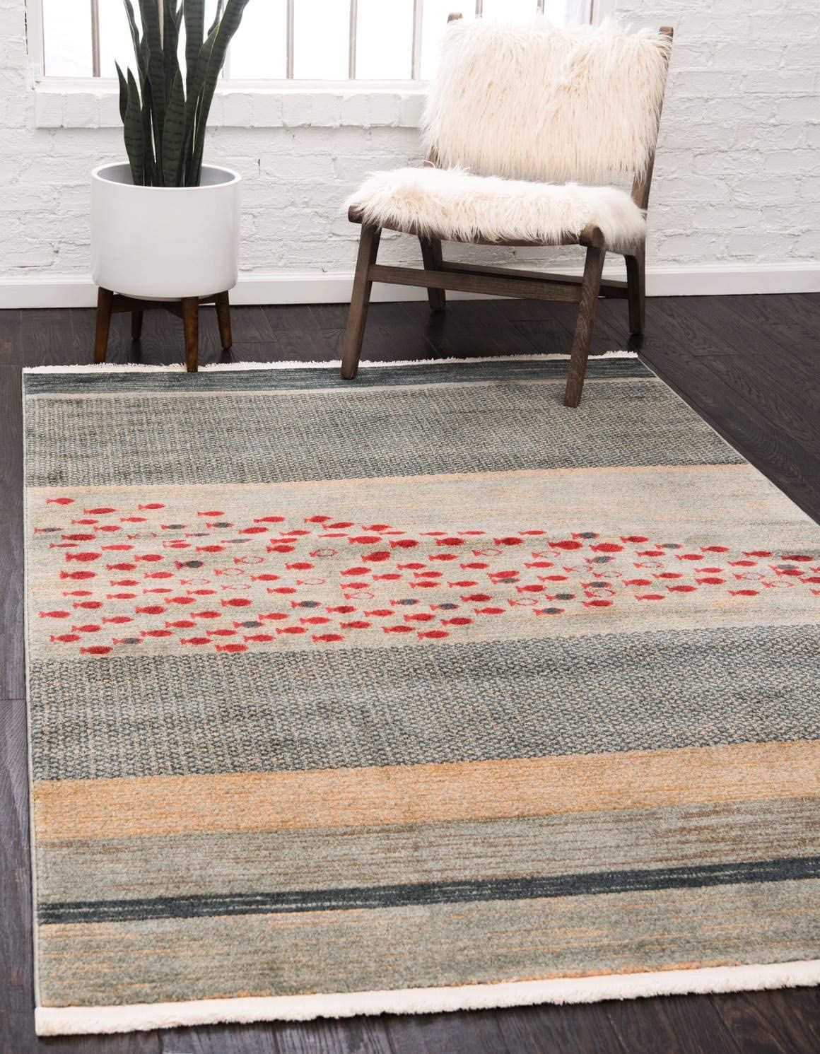 Unique Loom Fars Collection Tribal Modern Casual Blue Area Rug 8 0 x 10 0