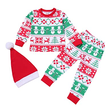 d8bbfd786b864 Christmas Kids Baby Boys Girls Family Matching Xmas Pajamas Sleepwear  Homewear Set with Christmas Hat 2