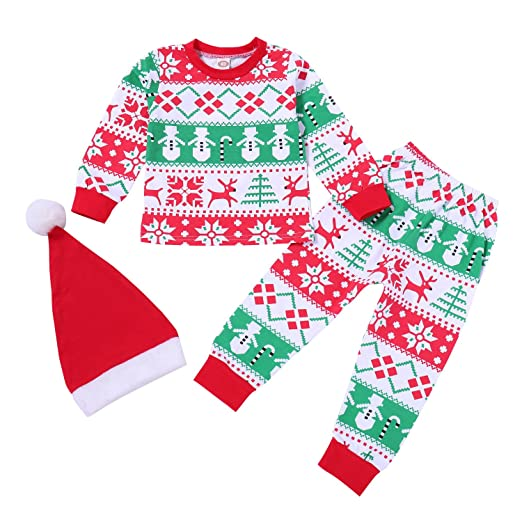 Christmas Kids Baby Boys Girls Family Matching Xmas Pajamas Sleepwear Homewear Set with Christmas Hat 1
