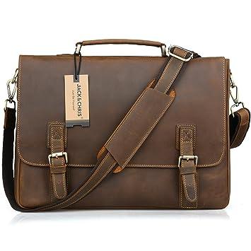 Amazon.com: Jack&Chris Classical Men's Leather Briefcase Laptop ...