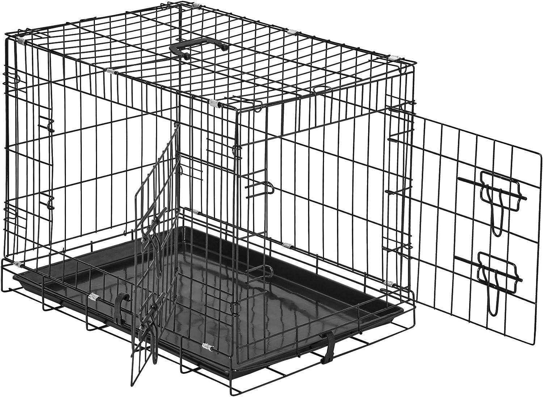 TecTake 800515 - Jaula para Perros, Caja con Rejillas, 2 Puertas Cerrojos, Plegable - Varios Tamaños (60 x 44 x 51 cm | No. 402293)