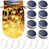 Yitee Mason Jar Solar Lantern Lights, 8 Pack 30 LED Bulbs Fairy Star Firefly Solar Lids Jar Lights,8 Hangers Included(No…