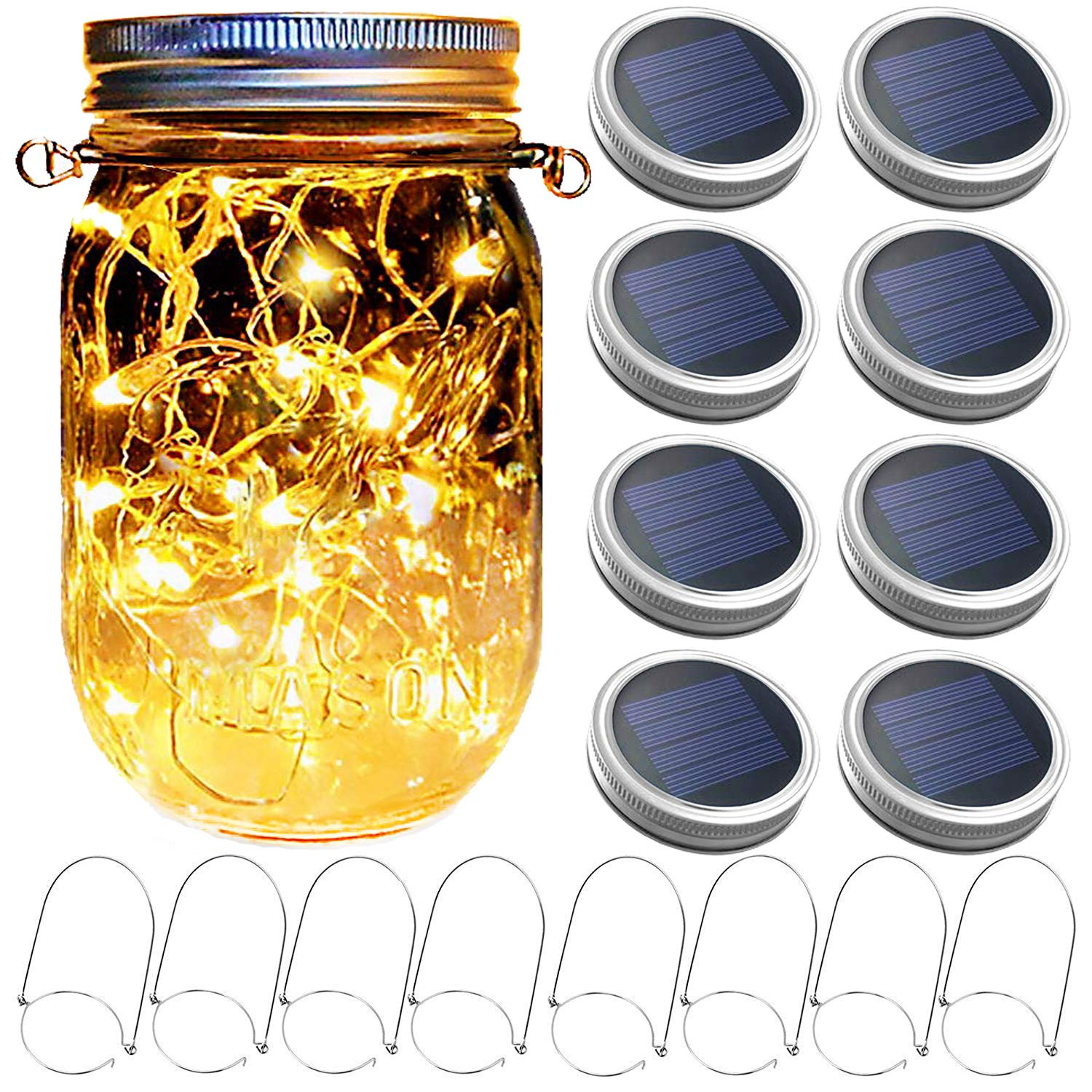 Mason Jar Solar Lantern Lights, 8 Pack 30 LED Bulbs Fairy Star Firefly Solar Lids Jar Lights,8 Hangers Included(No Jars),for Patio Garden Mason Jar Lanterns Table Wedding Decorations Lights by Yitee