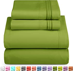 Nestl Bedding Soft Sheets Set – 4 Piece Bed Sheet Set, 3-Line Design Pillowcases – Wrinkle Free – Good Fit Deep Pockets Fitted Sheet – Warranty Included – California King, Calla Green