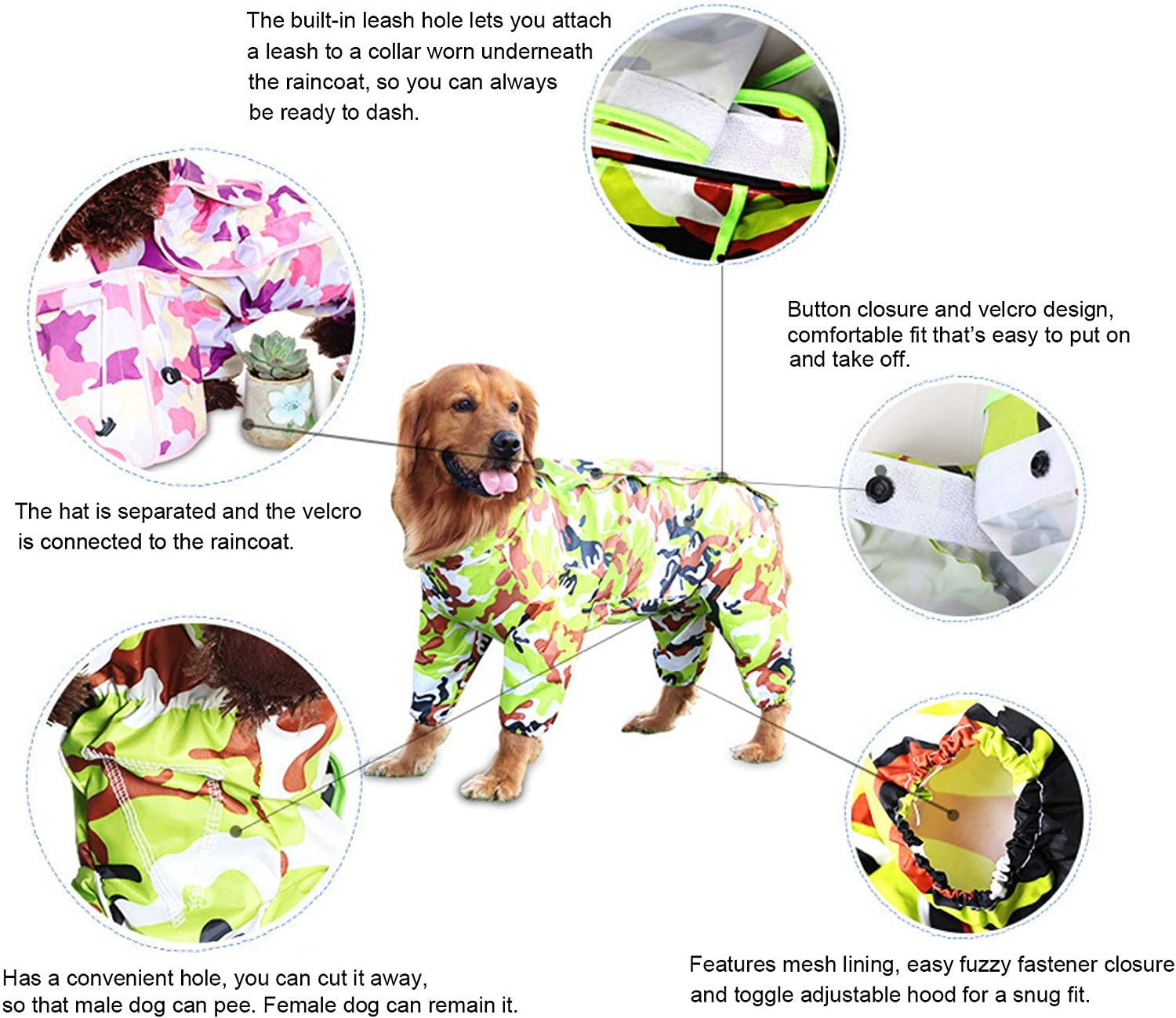 FishBabe 9 Colors Optional 10 Sizes Waterproof 4 Legs Pets Raincoat for Small Medium Large Dogs