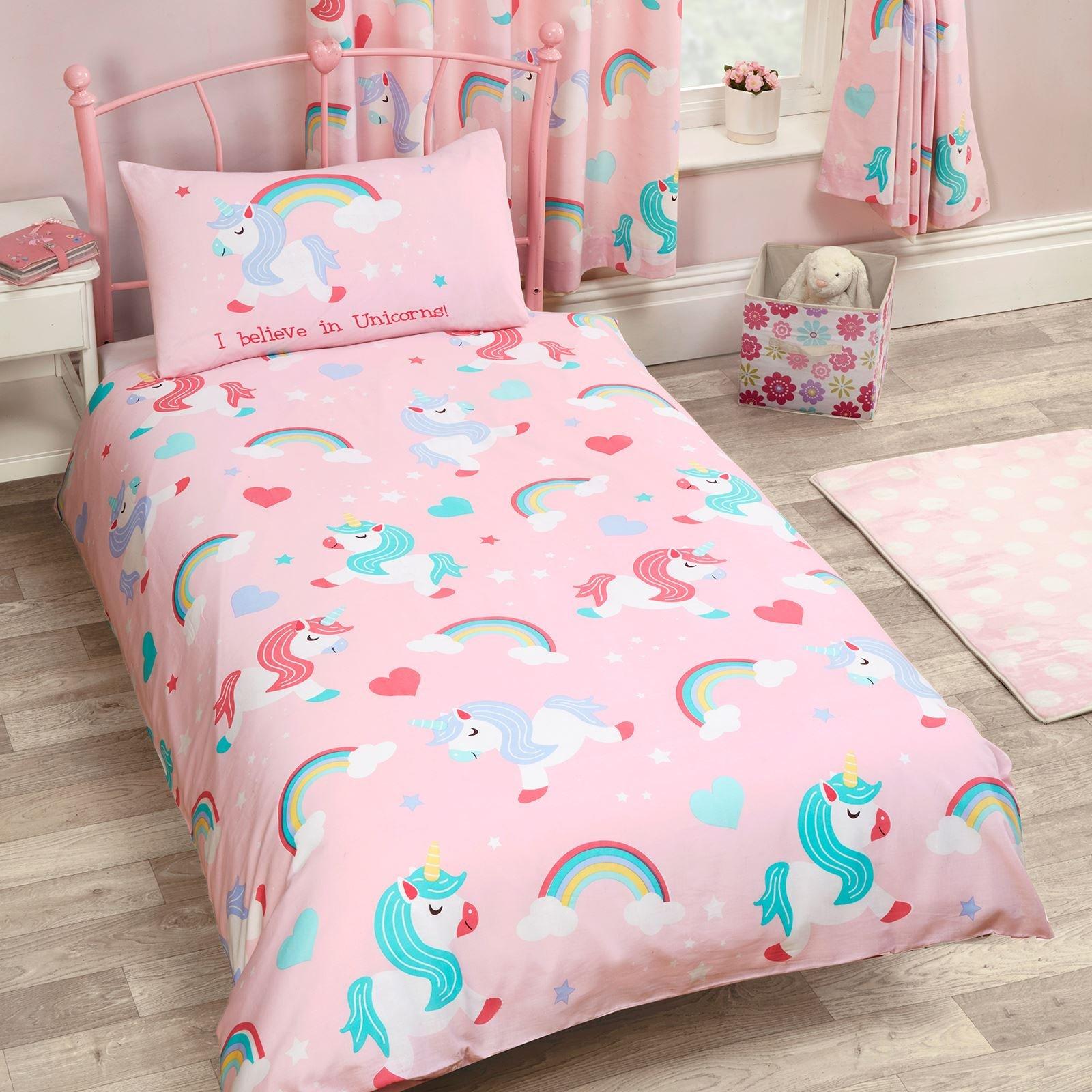 I Believe in Unicorns 2 Piece UK Single/US Twin Sheet Set, 1 x Double Sided Sheet 1 x Pillowcase