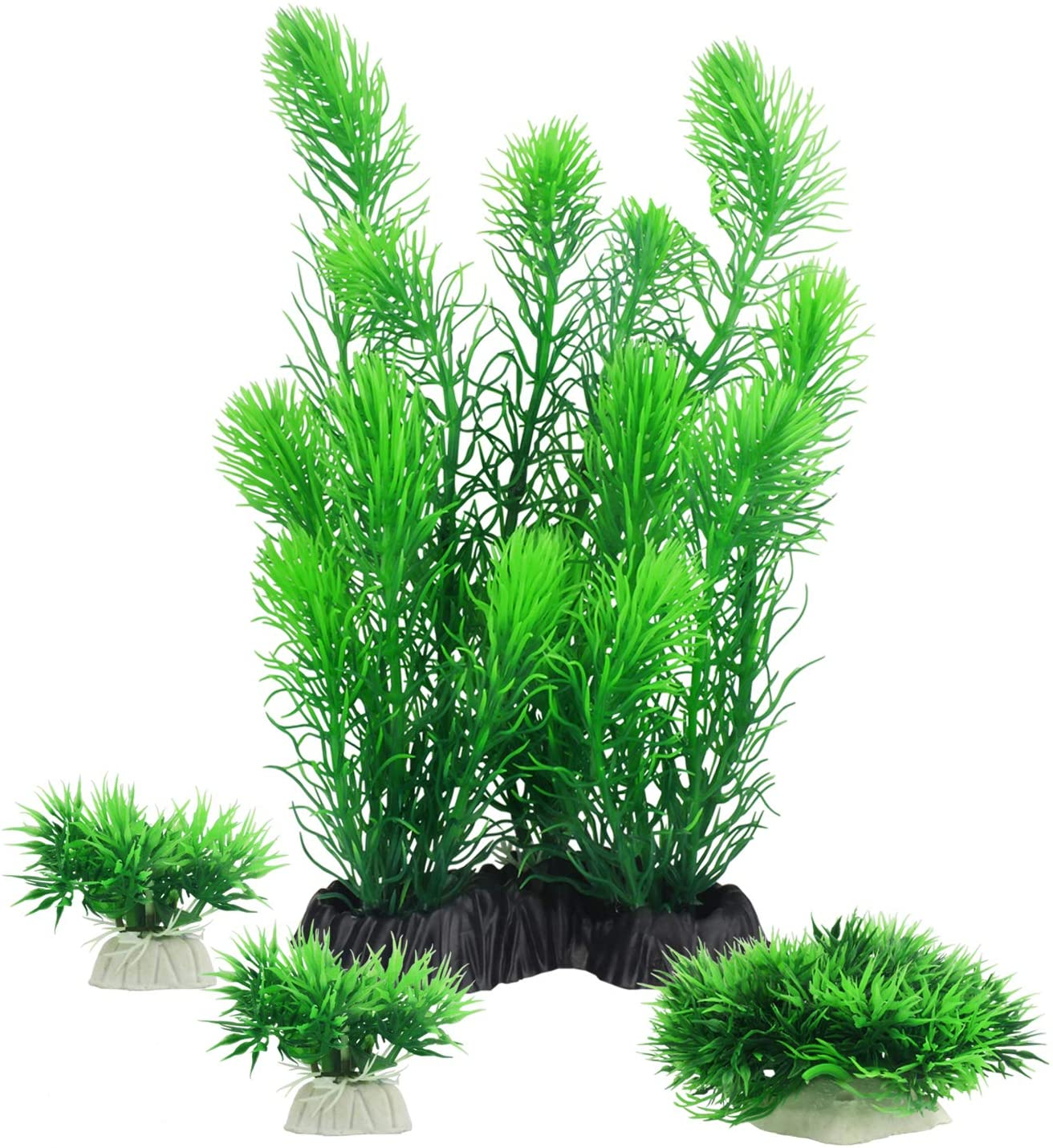 MyLifeUNIT Aquariums Decorations Plants, Artificial Aquarium Plants for Fish Tank Decor, Pack of 4