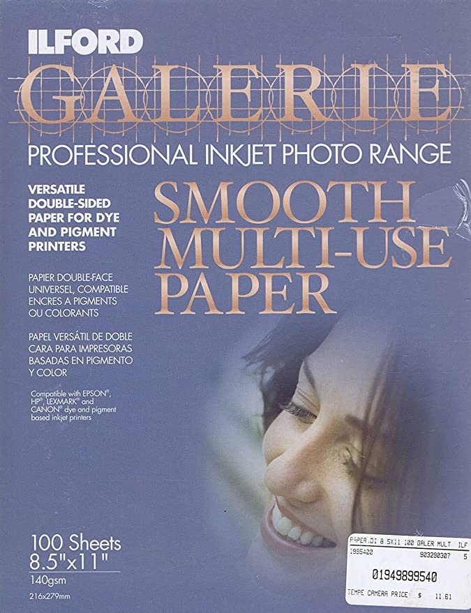 ILFORD Galerie Professional Inkjet Photo Range Smooth Multi-Use 8.5x11 Paper 100 Sheets