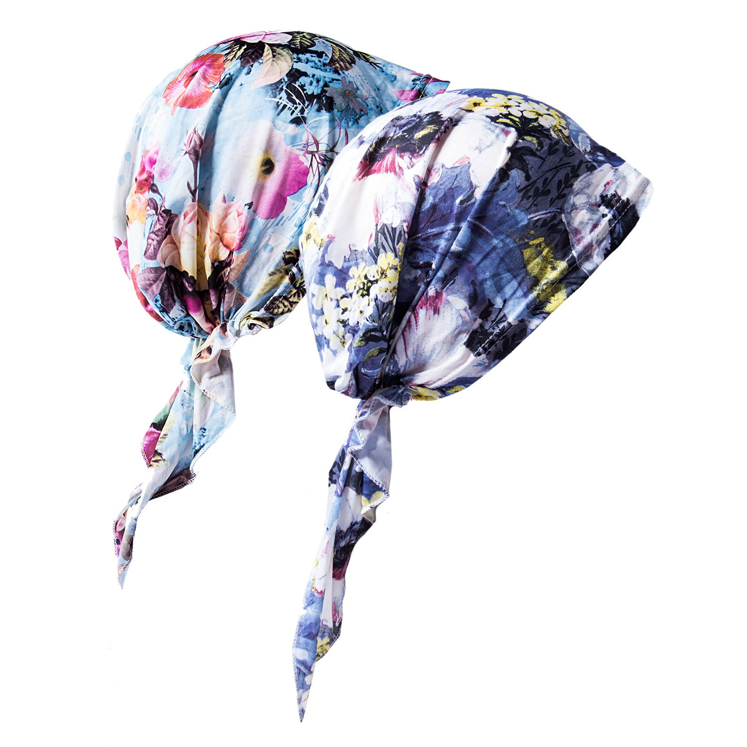 2 Pack Womens Bandana Scarf Pre Tied Chemo Hat Beanie, Turban Headwear for Cancer
