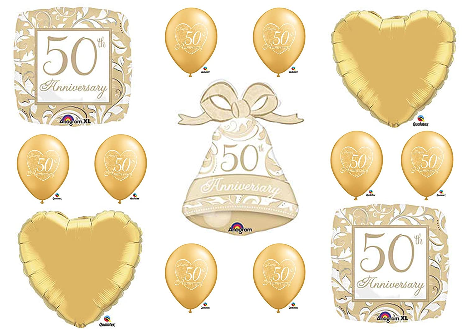 Amazon.com: 50th Fiftieth Anniversary Party Balloons BELL ...