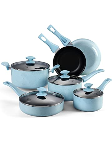 COOKSMARK® Esmaltado de Porcelana Batería de Cocina 10 Piezas Juego de Ollas y Sartenes Antiadherentes