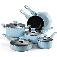 COOKSMARK 10-teilig Emailliert Versiegelung Antihaftbeschichtung Aluminium Spülmaschinengeeignet Kochgeschirr Kochset Töpfe Pfannen Set mit Glasdeckel Blau Pearl Serien