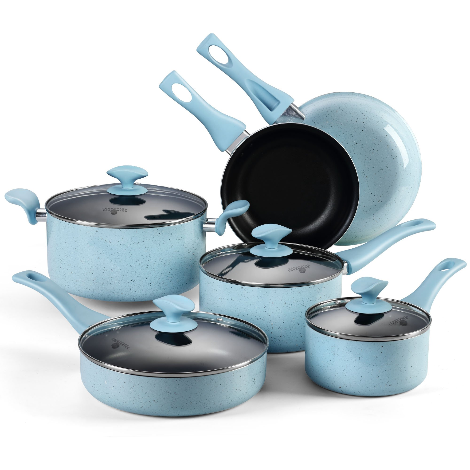 Pots and Pans Set, COOKSMARK Pearl Hard Porcelain Enamel Nonstick Cookware Set, 10-Piece, Dishwasher Safe, Blue Speckle
