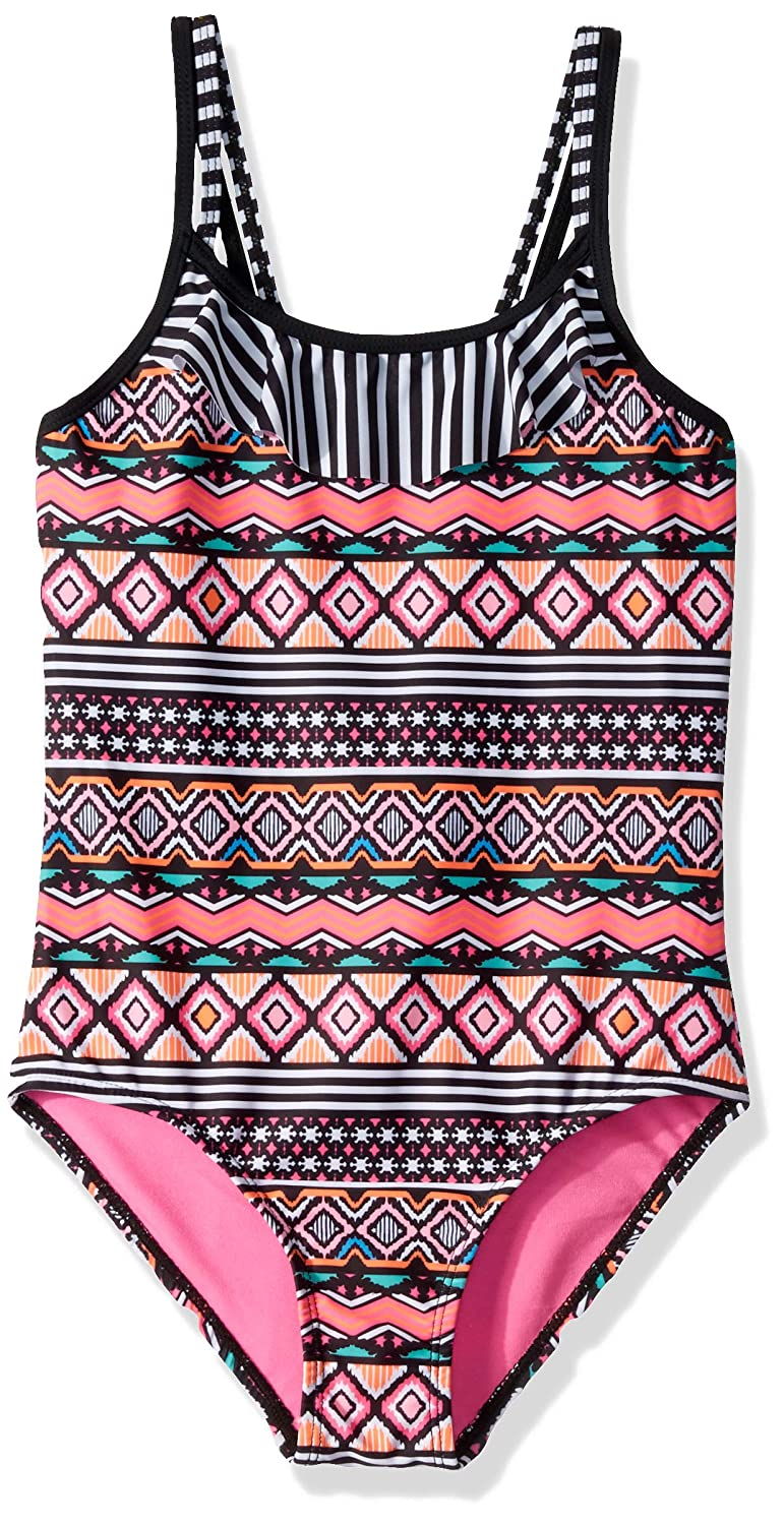 Limited Too Girls Aztec One Piece Swimsuit with Ruffle