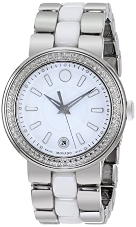 488b85ca7 Image Unavailable. Image not available for. Color: Movado Women's 0606624 Cerena  Stainless Steel Watch with Ceramic ...