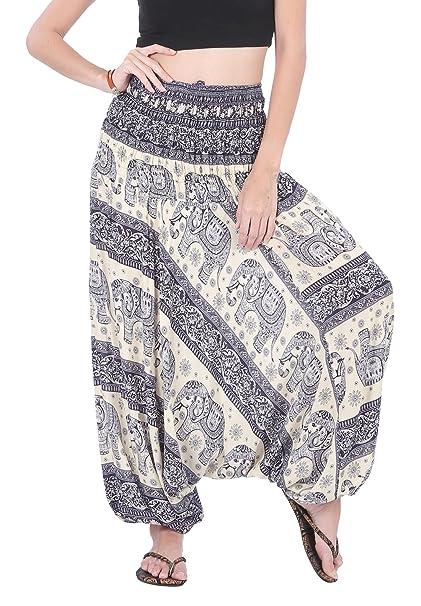 69cdc570a4 CandyHusky Women's Summer Hippie Boho Aladdin Yoga Harem Pants Jumpsuit  Costume (Elephant Dark Blue)