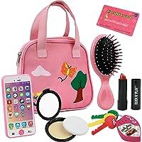 Click N' Play 8Piece Girls Pretend Play Purse, Including A Smartphone, Car Keys, Credit Card, Lipstick, Lights Up & Make…