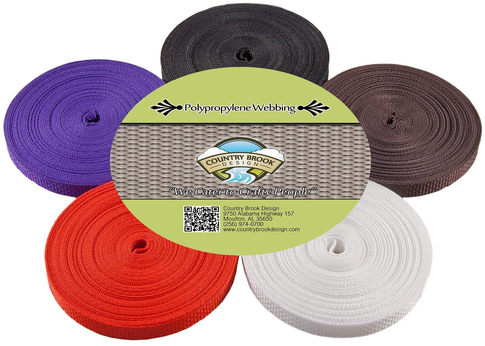 Country Brook Design | 1/2 Inch 10 Yards of 5 Colors Polypro Webbing