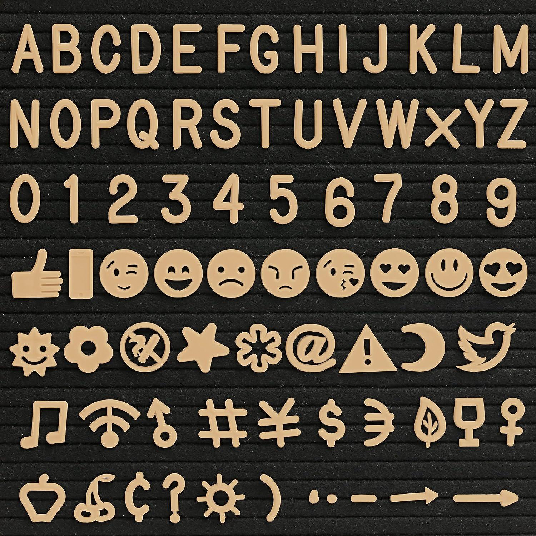 KESOTO 190 Stück Zeichen für Filz Buchstabe Board, Gold (Buchstaben, Zahlen, Symbole, Emojis)