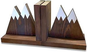 Heavy Duty Non Slip Rustic Woodland Mountain Wooden Book end for Cabin Decor