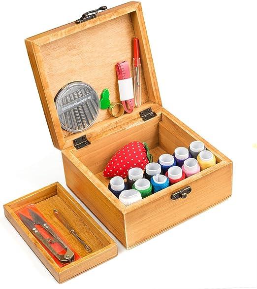 Kit de Costura BATTOP Caja de Madera para Costura Costurero con 49 ...