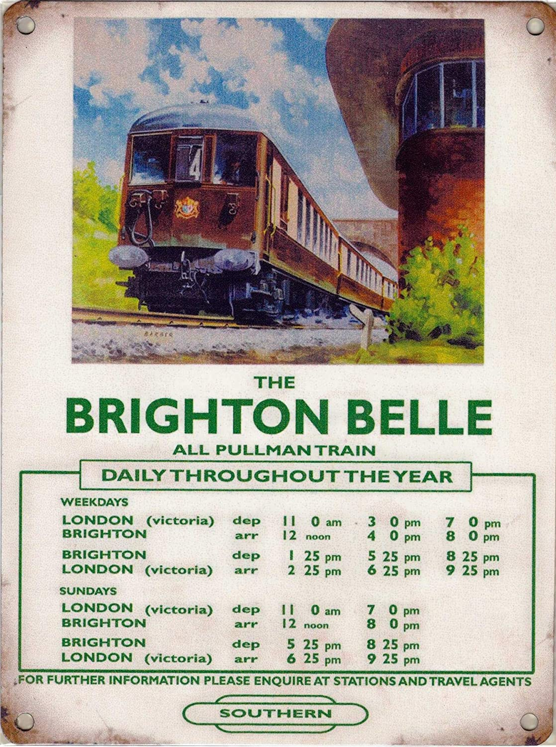 Brighton Belle pullman train metal sign 30x40cm reproduction railway wall plaque