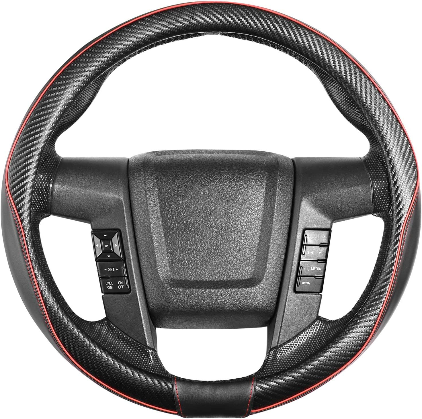 SEG Direct Car Steering Wheel Cover Universal Standard-Size 14 1//2 inches 15 inches Black Microfiber Leather