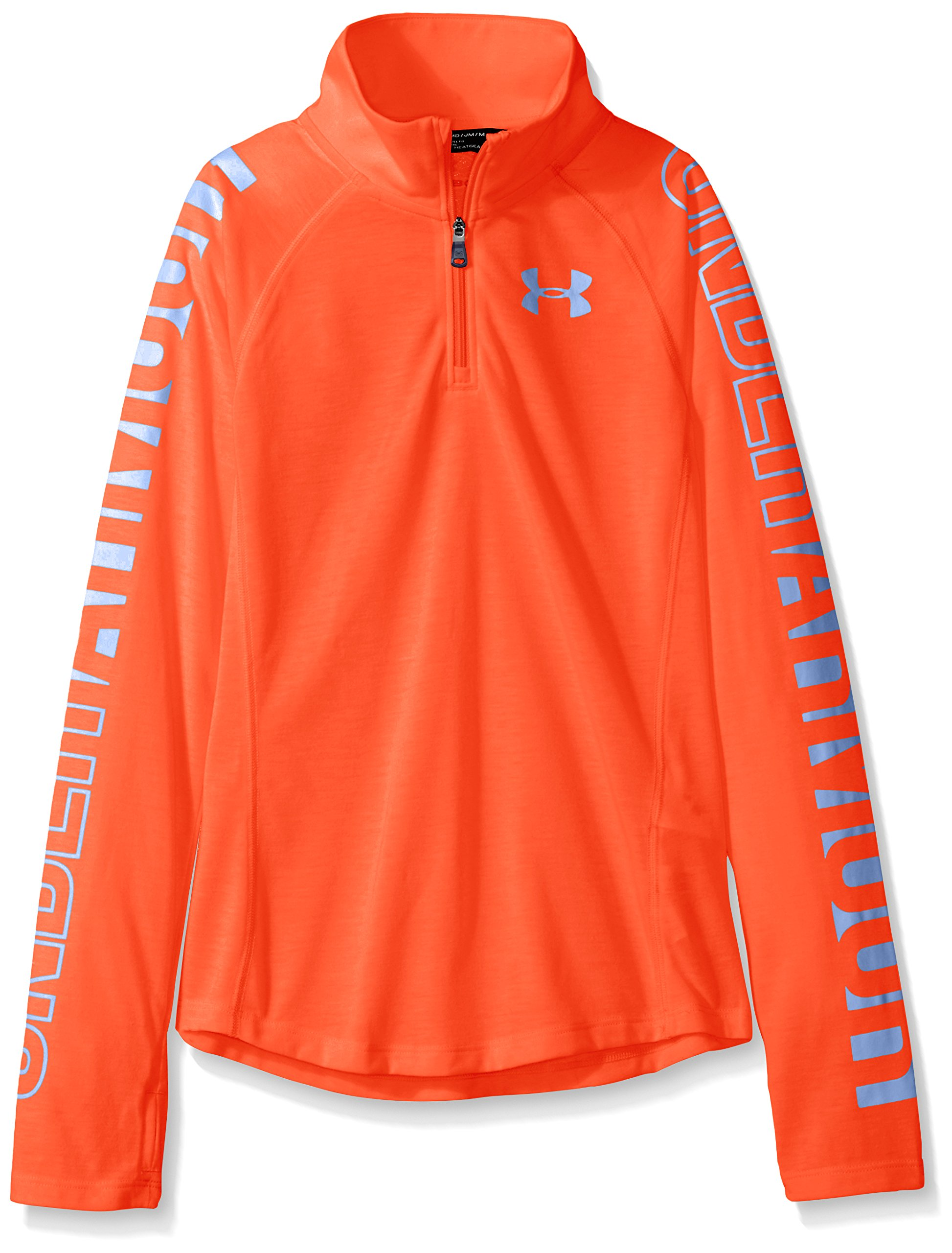 Under Armour Girls Thread borne 1/4 Zip Shirt, Neon Coral /Talc Blue, Youth X-Small