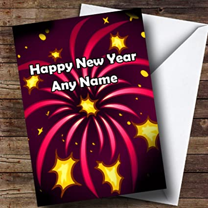 Amazon.com : Pink Fireworks Personalized New Years Greetings Card ...