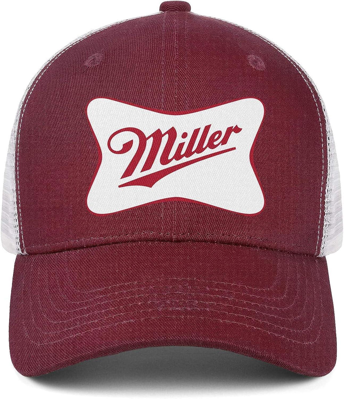 Men Unisex Adjustable Miller-Brewing-Company-High-Life-Beer-Pony-Bottles-Logo-Baseball Cap Sports Flat Hat