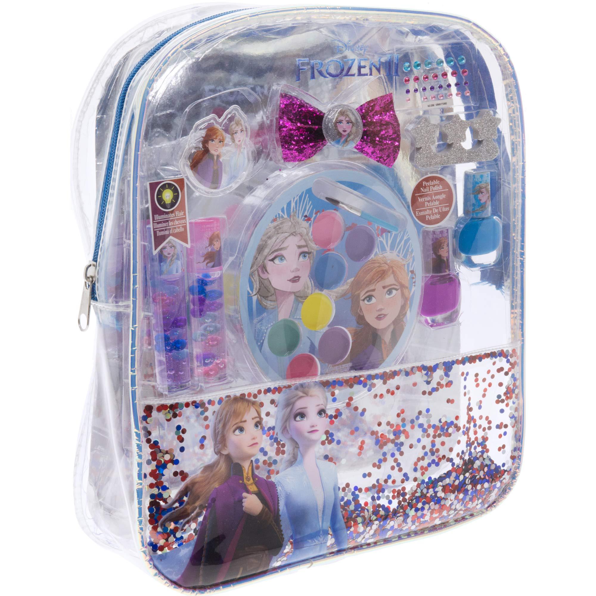 Townley Girl Disney Frozen 2 backpack Cosmetic Set, Includes: Lip Gloss Compact, Hair Bows, Nail Polish, Nail File, Lip Balm, Toe Spacer, Nail Stickers
