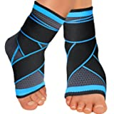 Sport Foot Socks, Ankle Brace Compression Support Sleeve with Wrap, Breathable Arch Support for Achilles Tendonitis,Stabilizing Ligaments,Prevent Re-Injury,Soothe Achy Feet,Reduce Swelling-1 Pair